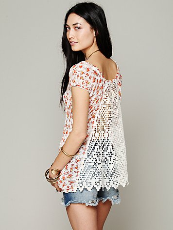Free People Crochet Back Ditsy Tee