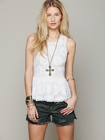 Free People FP New Romantics Beaded Peplum Tank