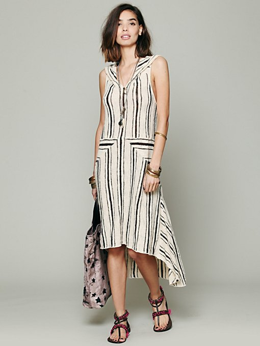 Striped Hooded Swit Dress in clothes-dresses-maxi