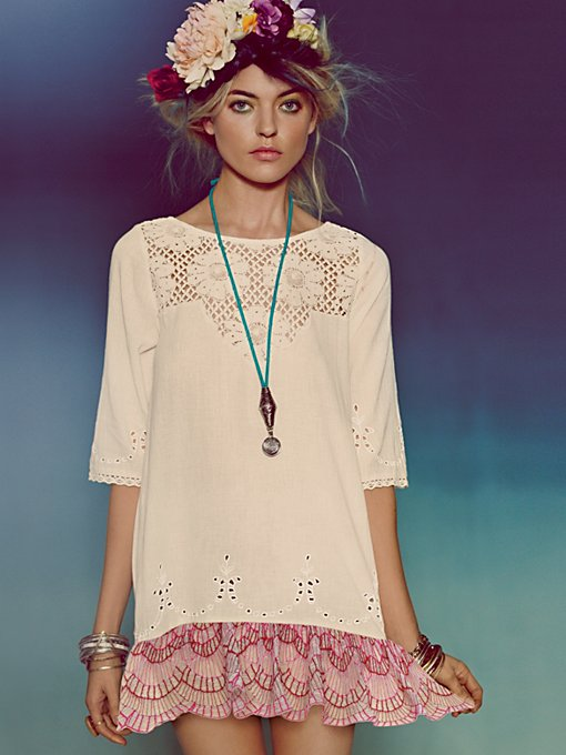 Free People Springtime Lattice Tunic in cotton-tunics
