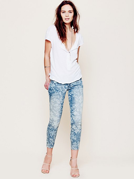 Faded Floral Ankle Crop in denim