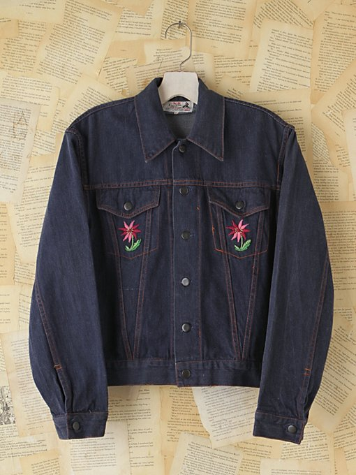 Free People Vintage Embroidered Denim Jacket in vintage-jeans