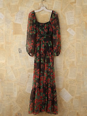 Vintage Floral Chiffon Dress
