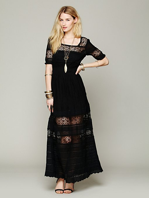 Free People Mix In The Crochet Dress in black-maxi-dresses