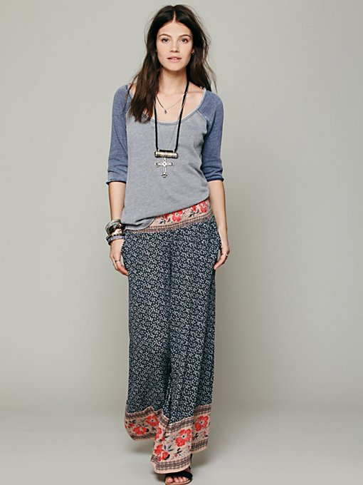 Free People Border Print Smocked Wideleg in wide-leg-pants