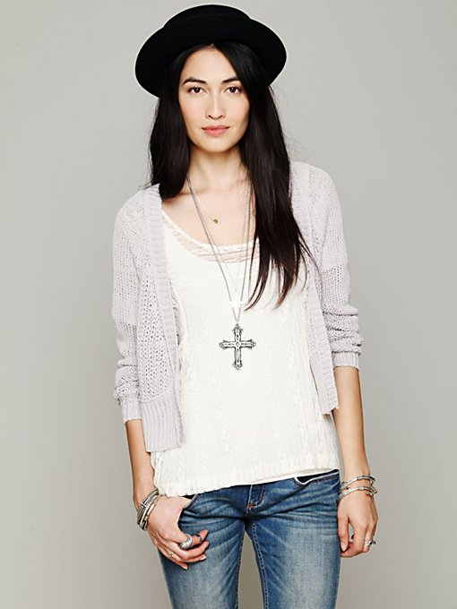 Free People Cropped Cardigan in cardigan-sweaters