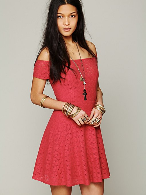 Free People Shimmy Shake Fit and Flare Dress in Mini-Dresses