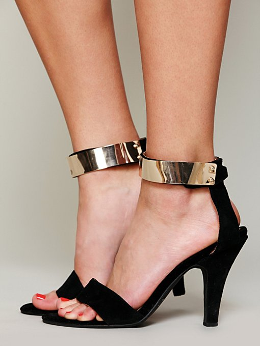 Jeffrey Campbell + Free People Blair Metal Strap Heel in designer-sandals