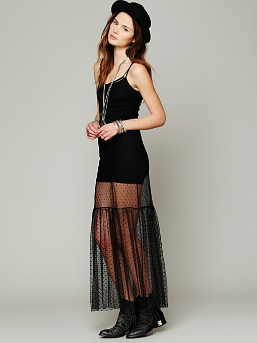 Intimately Dot Mesh Maxi in black-maxi-dresses