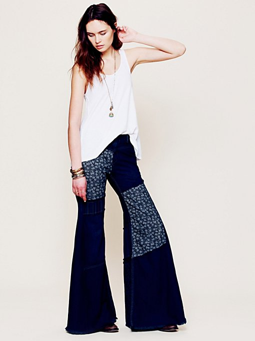 Free People Cascade Patched Wideleg Jeans in Trouser-Jeans