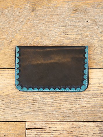 Vintage Blue Scalloped Leather Wallet