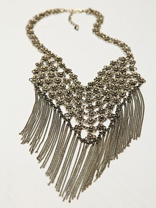 Floral Chain Mail Fringe Necklace in necklaces