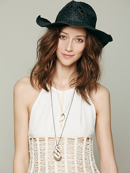 Black Straw Cowboy Hat in accessories-hats-fedoras-caps