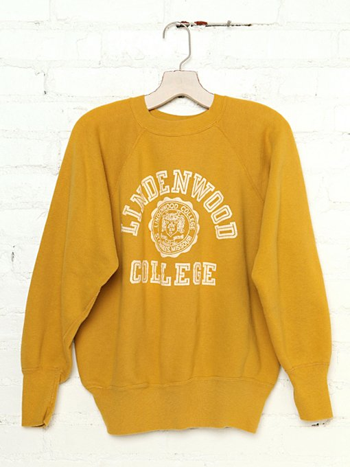 Free People Vintage Lindenwood College Sweatshirt in Vintage-Tops