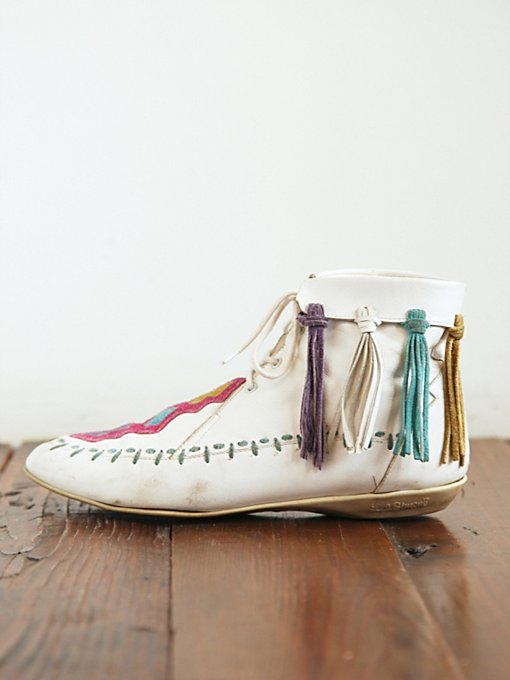 Free People Vintage White Lace-Up Mocassins in vintage-shoes