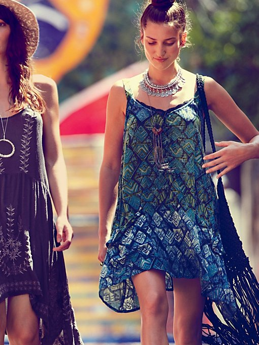 Free People FP ONE Geo Shapeless Dress in lace-dresses