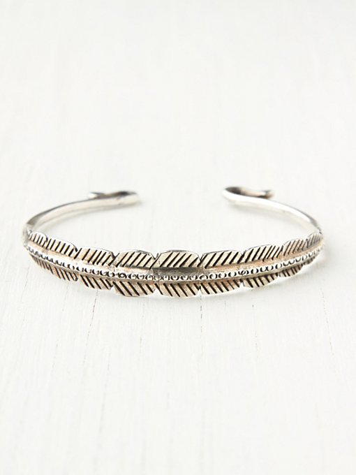 Feather Etched Skinny Cuff in accessories-jewelry-bracelets