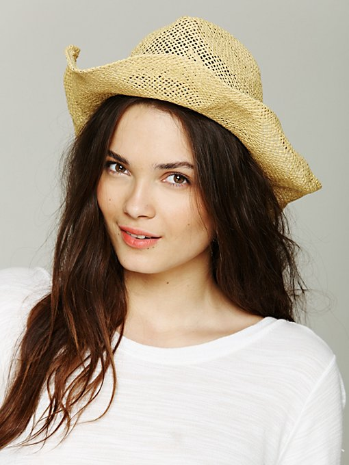Open Weave Straw Cowboy Hat in accessories-hats-fedoras-caps