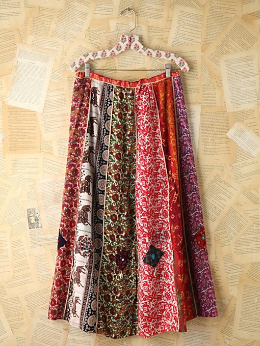 Free People Vintage Multi Printed Panel Skirt in vintage-skirts