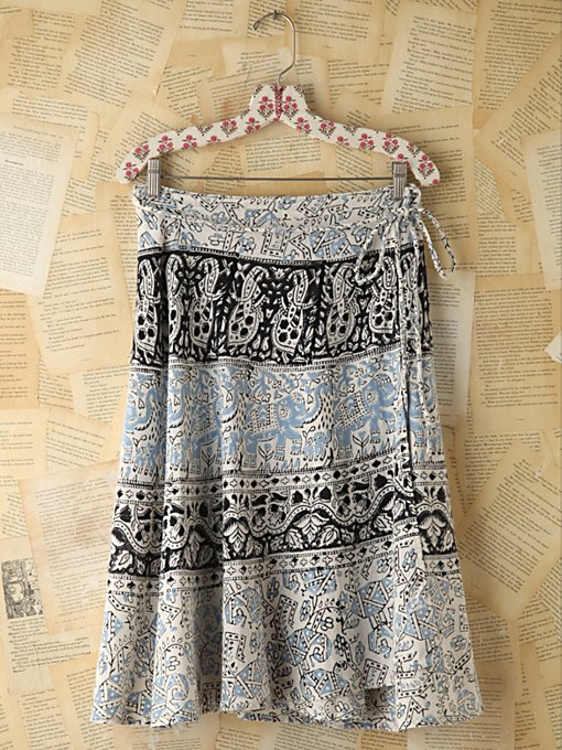Free People Vintage Printed Wrap Skirt in vintage-skirts