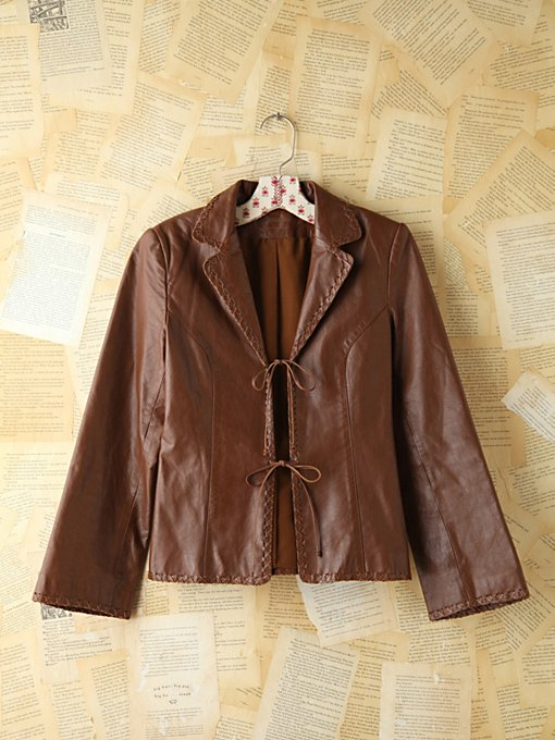 Free People Vintage Brown Leather Jacket in vintage-jackets