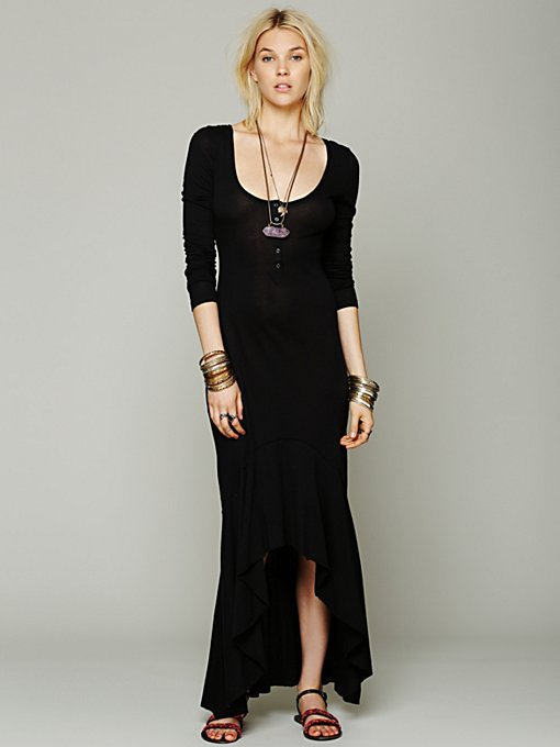 Free People Jay Town Dress in black-maxi-dresses