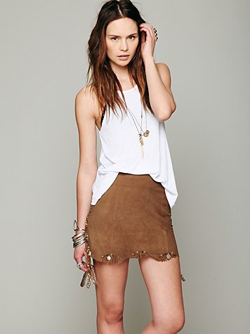 Suede Festival Embroidered Mini