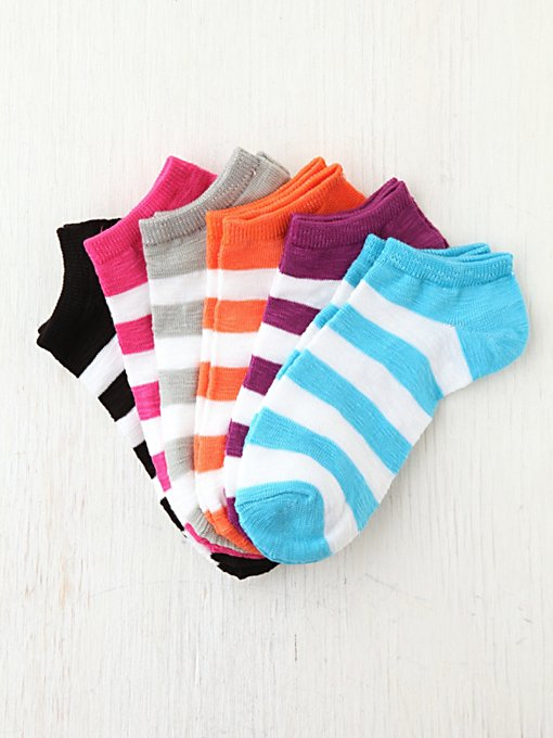 Striped Anklet 6 Pack in womens-ankle-socks