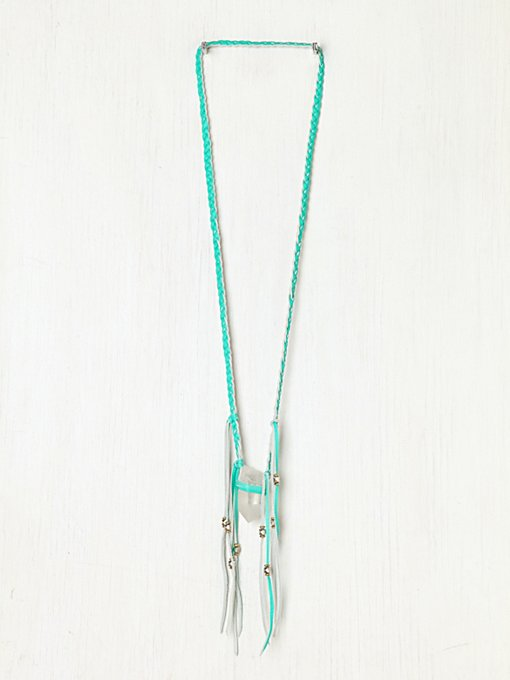 Neon Leather Braided Crystal Necklace in bohemian-necklaces