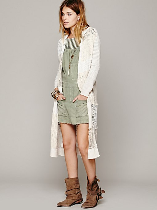 Free People Patchwork Hooded Cardigan in Sweaters