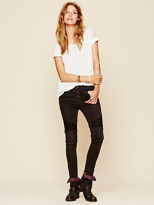 Seamed Moto Skinny in denim