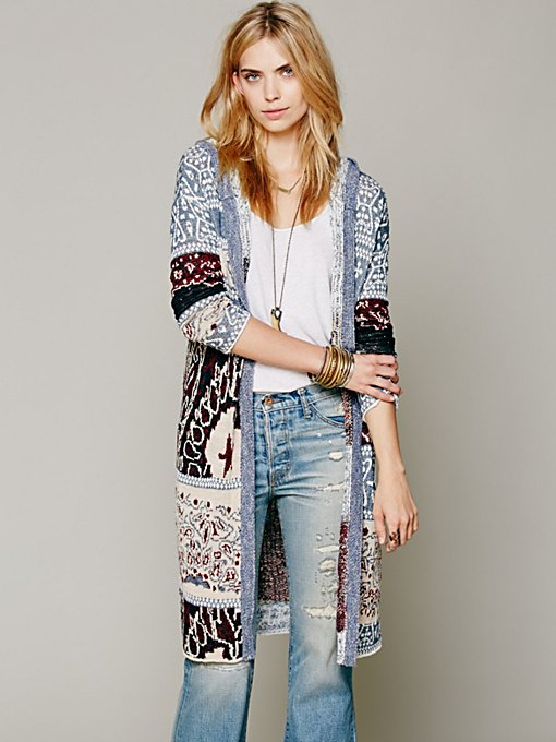 Free People Americana Hooded Cardigan in Sweaters