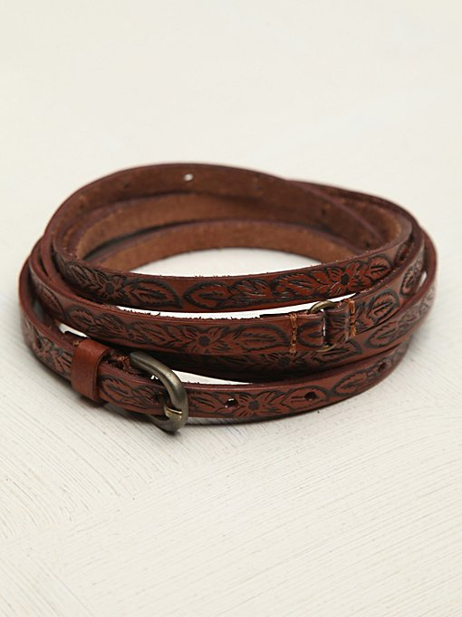 Tooled Leather Double Wrap Belt