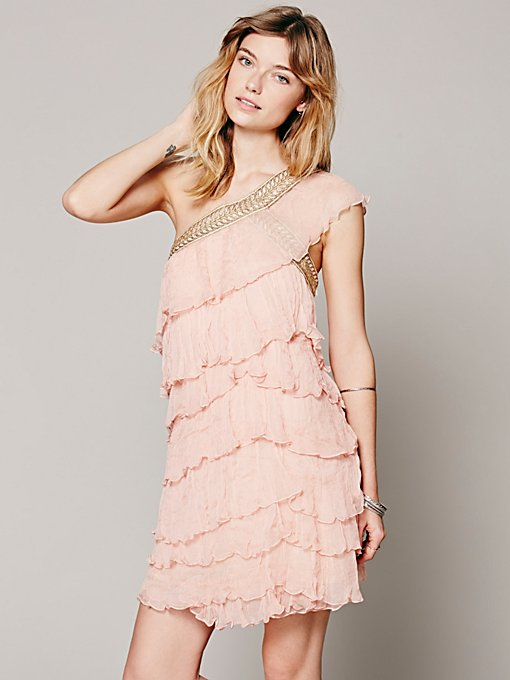 Free People Maheya One Shoulder Ruffle Dress in Dresses
