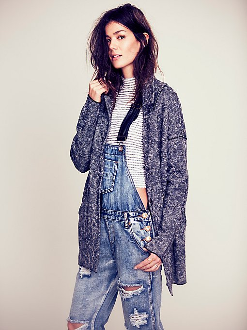Free People Marled Slouchy Sweater Jacket in Coats