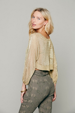 Metallic Cropped Pullover