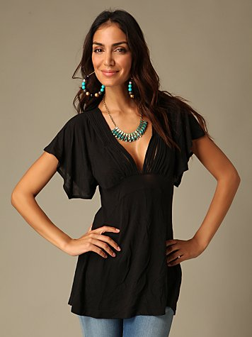 Free People Clothing Boutique > Deep V Drape Top :  blouse free people shirts shirt